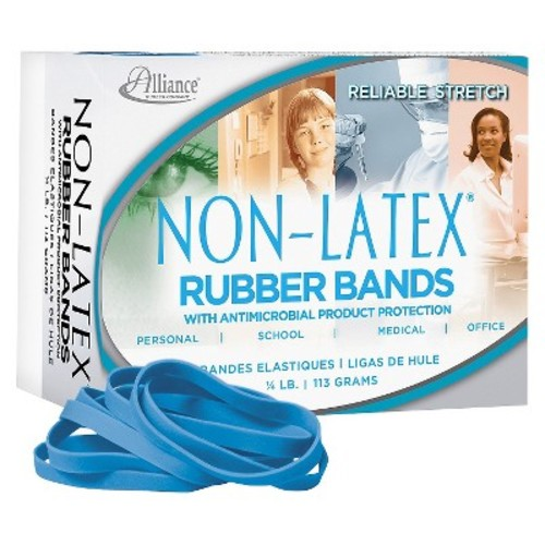 Alliance Latex Blue Antimicrobial Cyan Blue Rubber Bands, Size. #64, 3-1/2 x 1/4, 1/4lb Box