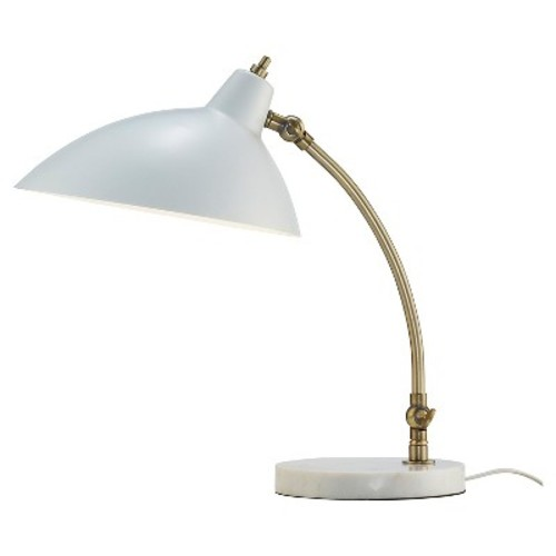 Adesso Peggy 18 in. White Desk Lamp with Marble Base