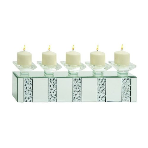 Studio 350 Candles & Candle Holders Mirrored Brick Glass Candle Holder
