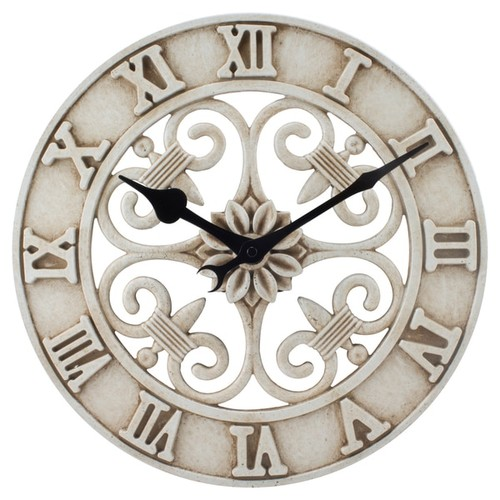 Lacrosse Technology Antiqued White Cast-iron 14-inch Indoor/Outdoor Wall Clock