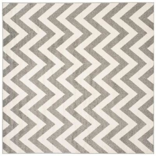 Safavieh Amherst Dark Gray/Beige 9 ft. x 9 ft. Indoor/Outdoor Square Area Rug