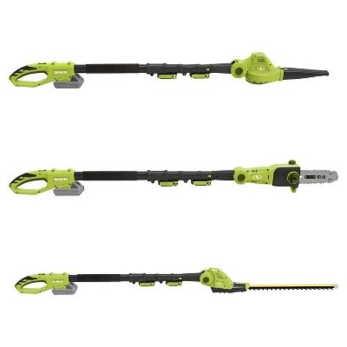 Sun Joe Cordless 3-in-1 Garden Tool System (Pole Chain Saw-Pole Hedge Trimmer-Pole Blower - Green