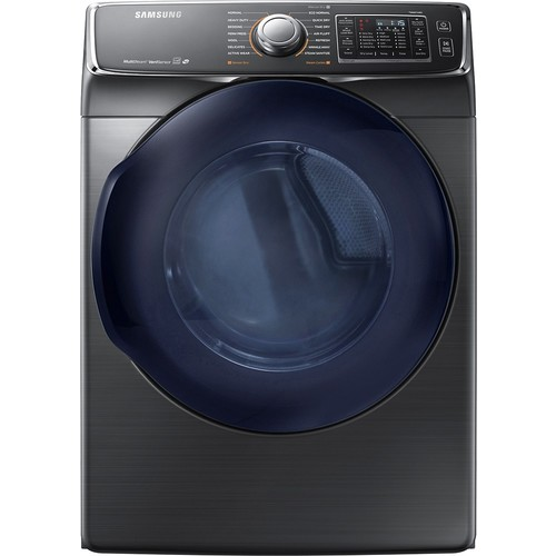 Samsung - 7.5 Cu. Ft. 14-Cycle Gas Dryer with Steam - Black stainless steel