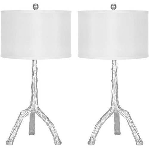 Safavieh Branch Table Lamp with CFL Bulb, Silver with Off-White Shade, Set of 2
