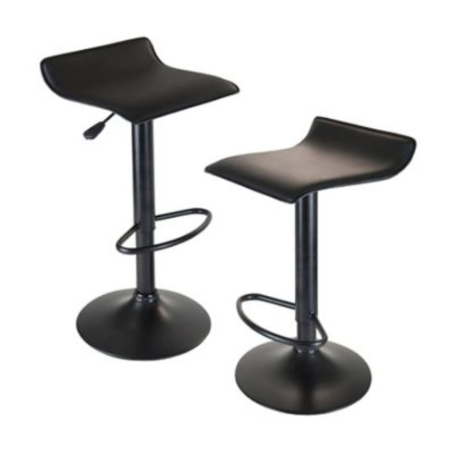 Winsome Obsidian Faux Leather Swivel Airlift Adjustable Stool With Metal Post and Base, Black