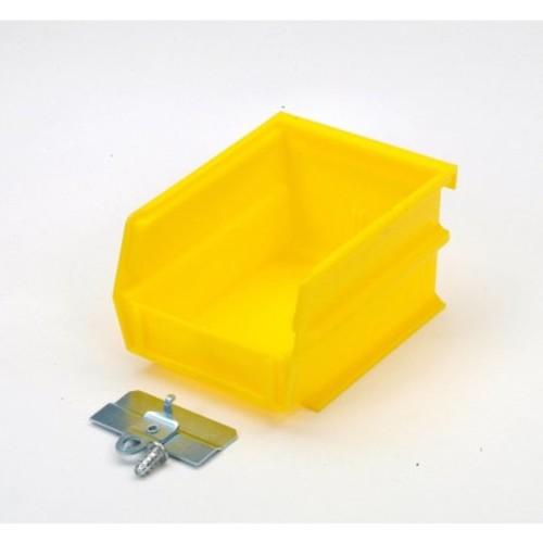 Triton Products BK-210 LocBin BinKit Hanging Bin and BinClip Kits 5-3/8 Inch L x 4-1/8 Inch W x 3 Inch H Yellow Polypropylene 24 Count