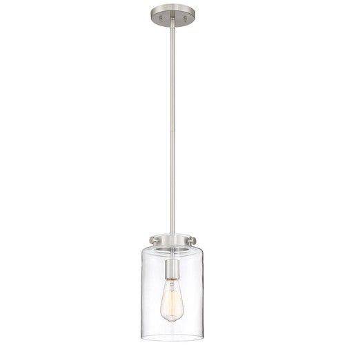 Good Lumens by Madison Avenue 1-Light Brushed Nickel Pendant with Clear Glass Shade