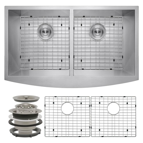 AKDY Handcrafted All-in-One Farmhouse Apron Front Stainless Steel 33 in. x 20 in. x 9 in. Double Bowl Kitchen Sink
