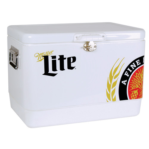 Miller Lite MLIC-54 54 Qt. Stainless Steel Ice Chest
