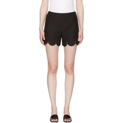 VALENTINO Black Scallop Rockstud Shorts