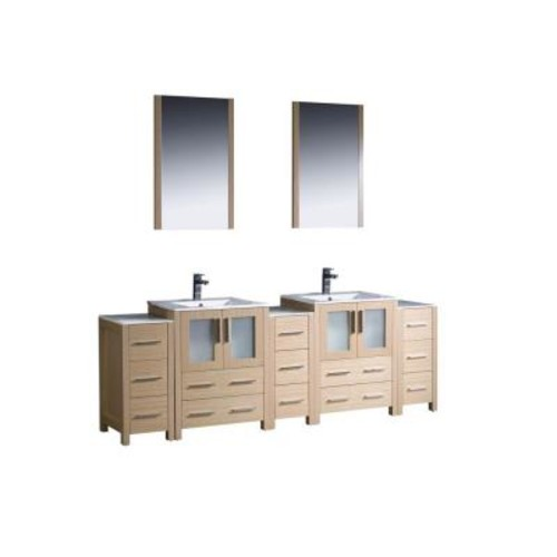 Fresca Torino 84 in. Double Vanity in Light Oak with Ceramic Vanity Top in White with White Basin and Mirrors