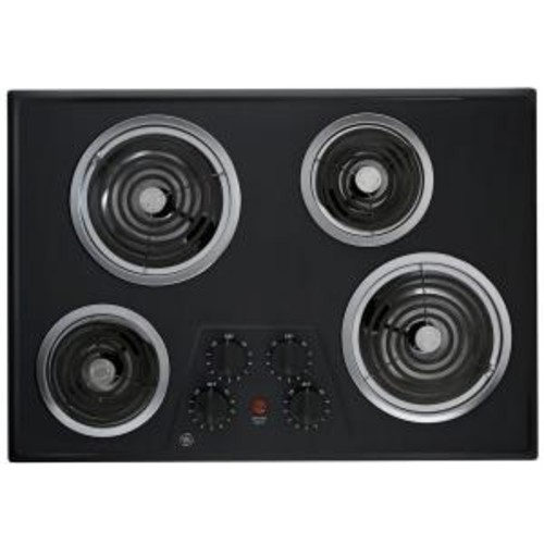 GE 30 in. Coil Electric Cooktop in Black with 4 Elements