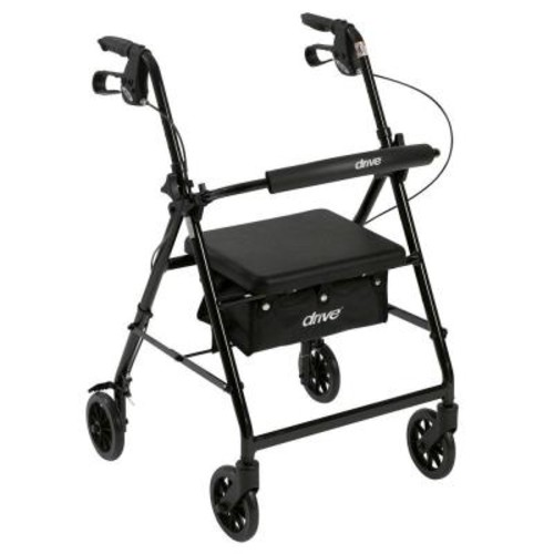 Drive 4-Wheel Rollator Walker with Fold Up and Removable Back Support and Padded Seat in Black