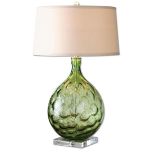Uttermost Florian Table Lamp in Green with Fabric Shade