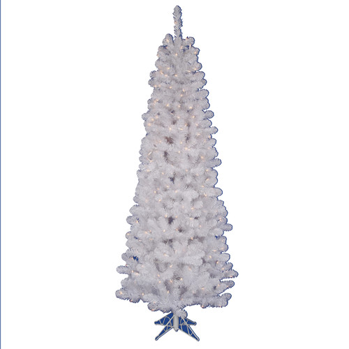 Vickerman 7.5' White Salem Pencil Pine Tree with 350 Dura-Lit Clear Lights