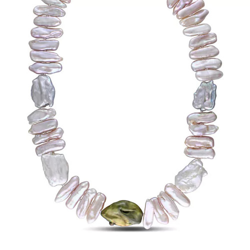 Catherine Catherine Malandrino Multicolor Freshwater Coin Baroque Cultured Pearl Strand with Sterling Silver Clasp (17-18 mm)