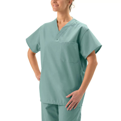 Medline Unisex Reversible Misty Green Scrub Top
