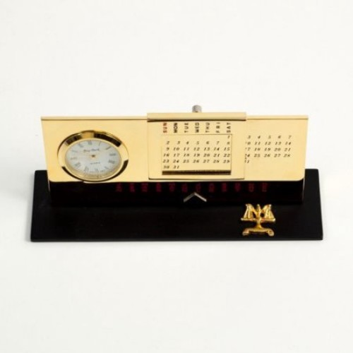 Bey-Berk International Legal Perpetual Calendar with Clock - Gold Plated