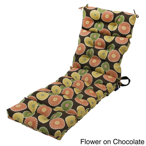 72-inch 4-section Contemporary Outdoor Chaise Lounge Cushion [option : Flower on Chocolate]