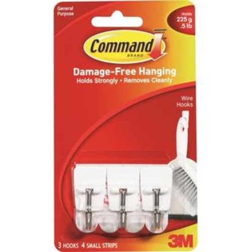 3M Wire Hook - Command 17067 Medium Utensil Hook - HOOK WIRE ADHESIVE SMALL WHITE - ORG
