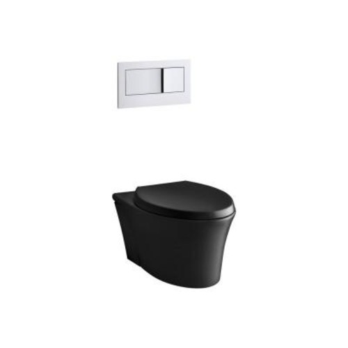 KOHLER Veil Wall-Hung 1-piece 0.8/1.6 GPF Dual Flush Elongated Toilet in Black Black