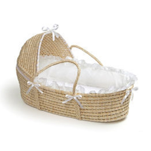Badger Basket Natural Moses Basket with Hood - White Bedding 00960