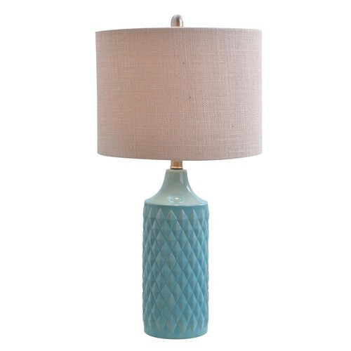26.5 in. Blue Ceramic Table Lamp with Linen Shade