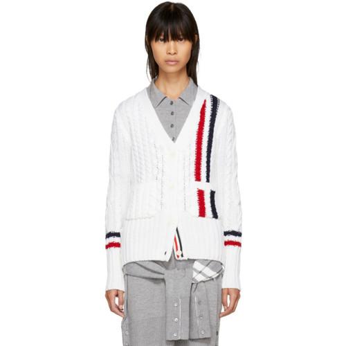 THOM BROWNE White Vertical Stripes Aran V-Neck Cardigan