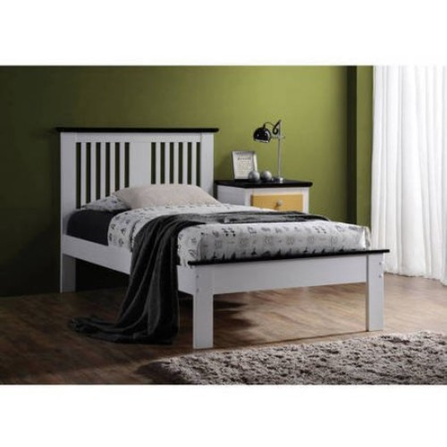 Brooklet Twin Bed, White and Black