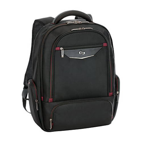 Solo Executive Backpack For 17.3 Laptops, Black/Red