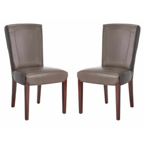 Safavieh Ken Brown Leather Side Chair (Set of 2)