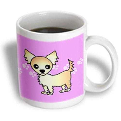 3dRose - Janna Salak Designs Dogs - Cute Cream Tan Longhaired Chihuahua Purple with Pawprints - 11 oz mug