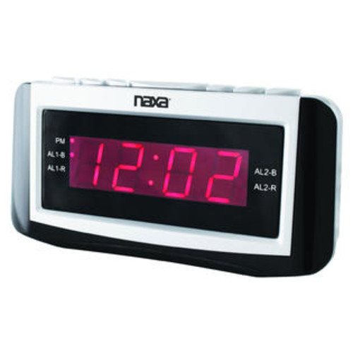 Naxa PLL Digital Alarm Clock with AM/FM Radio, Snooze & Large LED Display