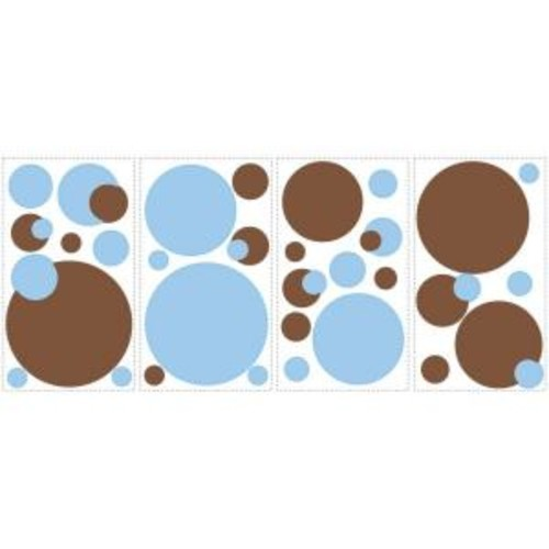 10 in. x 18 in. Just Dots Blue and Brown 31-Piece Peel and Stick Wall Decals