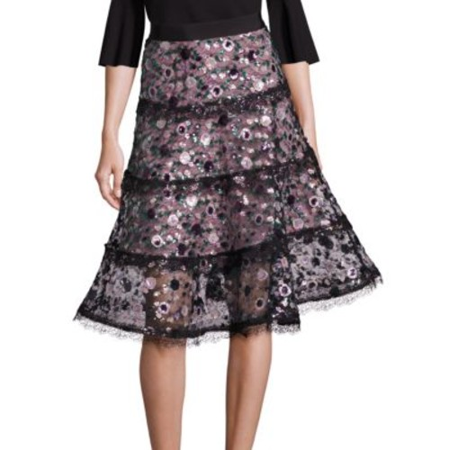 ALEXIS Irma Sequin Floral Lace Midi Skirt