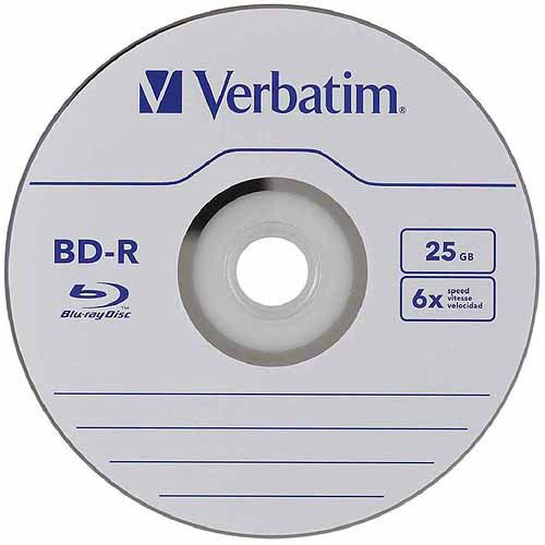 Verbatim BD-R 25GB 6X Blu-ray Recordable Media Disc - 50 Pack Spindle [50-Disc, 25GB]