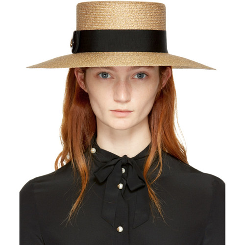 GUCCI Gold Straw Alba Hat