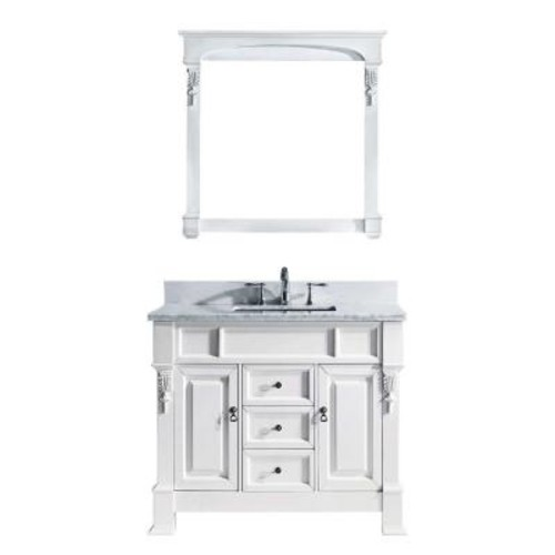 Virtu USA Huntshire 40 in. W x 22.5 in. D x 33.86 in. H White Vanity With Marble Vanity Top With White Round Basin and Mirror