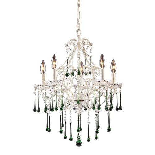 Elk 4002/5LM 5-Light Chandelier In Antique White And Lime Crystal
