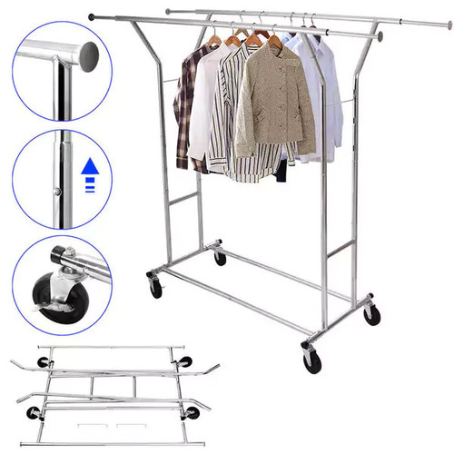 Portable Double-bar Steel Clothes Rack Silver