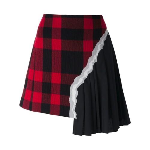 MAISON MARGIELA Plaid Pleated Asymmetric Skirt