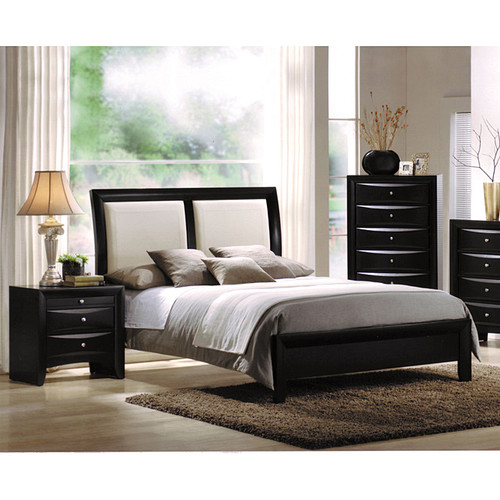 Ireland White Queen Bed with Black Headboard