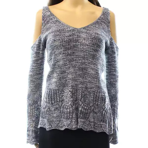 INC NEW Blue Women's Size Small S V-Neck Cold-Shoulder Knit Sweater