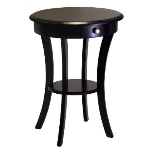 Winsome Wood Round Table with Drawer and Shelf, Black [Black]