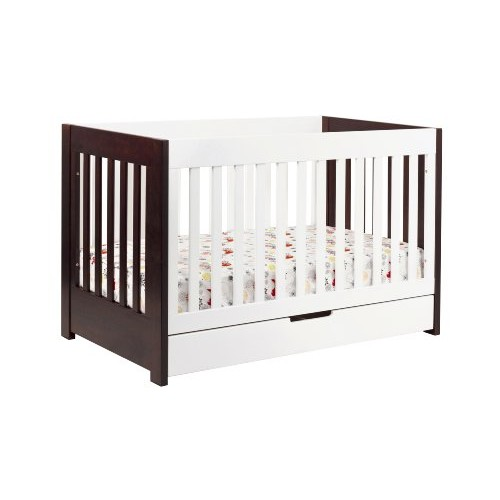 Babyletto Mercer 3-in-1 Convertible Crib with Toddler Bed Conversion Kit, Espresso / White [White/Espresso, Crib]