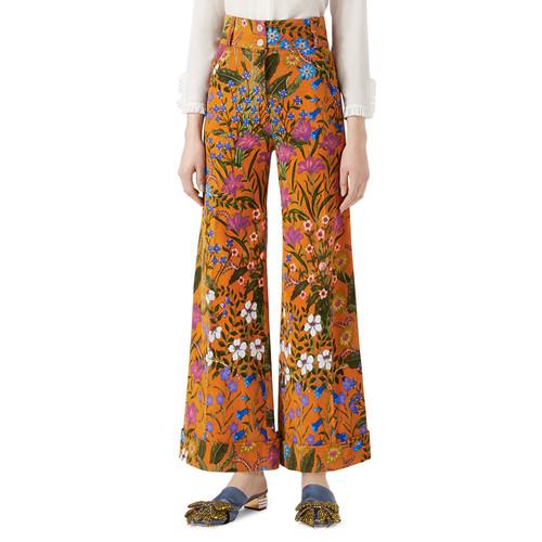 GUCCI Flora Print Corduroy Pants, Multicolor