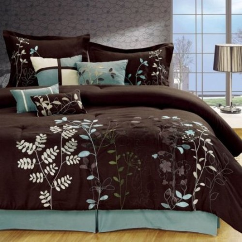 Bliss Garden Brown Comforter Bed In A Bag Set - King 8 Piece