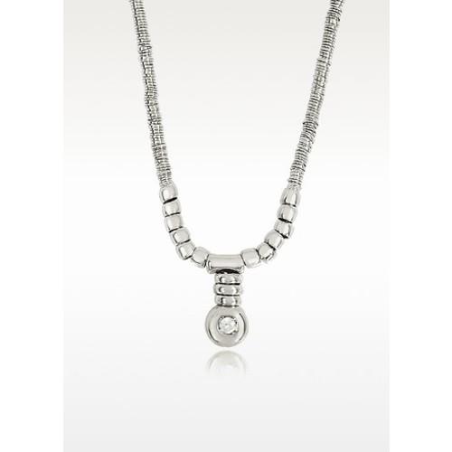White Gold Chain Snake Necklace w/Diamond