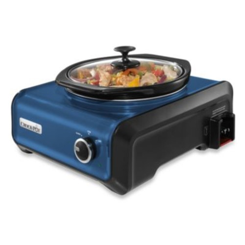 Crock-Pot 2-Quart Round Hook Up Connectable Entertaining System in Metallic Blue