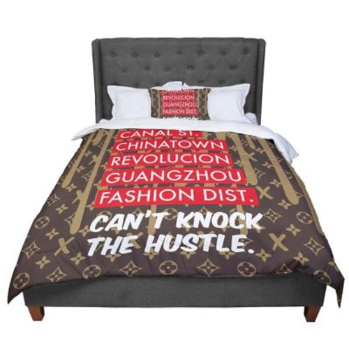 East Urban Home Just L Can't Knock The Hustle Brn Urban Comforter; Queen